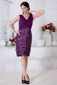 Knee-length V-neck Purple Taffeta Cortez Colorado Mother Bride Dresses