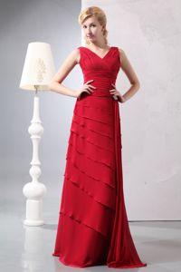 Layers V-neck Ruched Red Clarksville Arkansas Mother of Bride Dresses