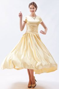 Short Sleeves Scoop Champagne Cottonwood Arizona Mother Dresses