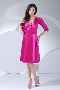 Deep V-neck Puffy Sleeves Fuchsia Mother Dress in Delaware with Sash