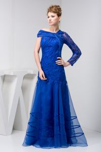 Blue One Sleeve Lace Side Zipper Organza Connecticut Mother Dresses