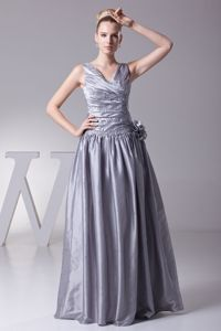 Grey V-neck Ruched Applique Beading Flowers Dresses for Bride Mother