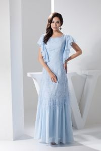 Flounce Short Sleeves Scoop Lace Light Blue Delaware Mother Gowns