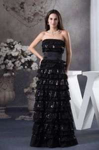 Sequin Strapless Ruffled Layers Black Long Mother Dress Hot in Alaska