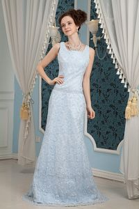 Lace Square Neck Brush Train Light Blue California Mother Bride Dress