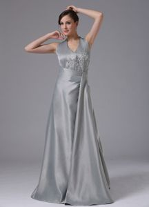 Backless Halter Top Appliques Sliver Satin Mother of The Bride Dresses