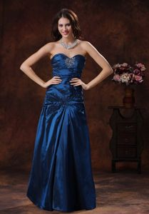 Sweetheart Beading Ruched Navy Blue Taffeta Arkansas Mother Gown