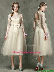 See Through High Neck Half Sleeves Mother Of The Bride Dresses with Lace and Bowknot