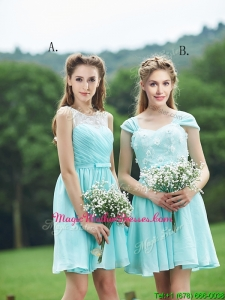 Classical Mint Short Mother Of The Bride Dresses with Appliques and Belt