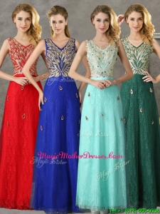 Fashionable V Neck Long Mother Of The Bride Dresses with Appliques and Beading