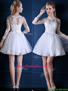 New See Through Scoop Three Fourth Length Sleeves Short Mother Of The Bride Dresses in White