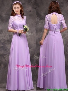 Perfect High Neck Handcrafted Flowers Mother Of The Bride Dresses with Half Sleeves