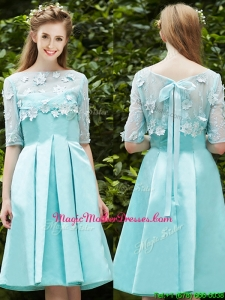 See Through Bateau Half Sleeves Appliques Mother Of The Bride Dresses in Apple Green