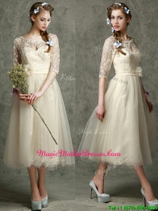 See Through Scoop Half Sleeves Mother Of The Bride Dresses with Hand Made Flowers and Lace