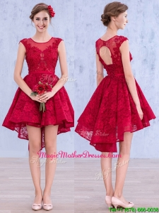 See Through Scoop High Low Wine Red Mother Of The Bride Dresses with Lace