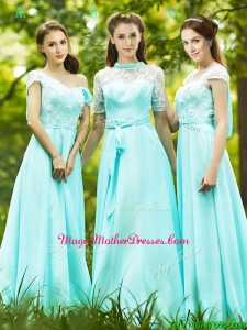 Lovely Chiffon Empire Long Mother Of The Bride Dresses in Apple Green