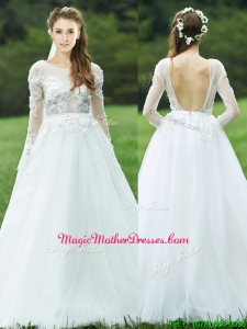 Pretty Applique White Backless Mother Of The Bride Dresses with Long Sleeves