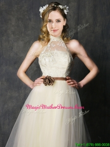 Sweet High Neck Champagne Mother Of The Bride Dresses with Hand Made Flowers and Lace