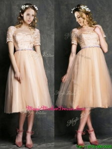 Beautiful Bateau Short Sleeves Mother of Groom Dresses with Sashes and Lace