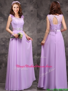 Beautiful Empire Scoop Laced Decorated Bodice Mother Of The Bride Dresses in Lavender