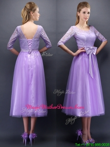 Cheap See Through Scoop Half Sleeves Mother Of The Bride Dresses with Bowknot