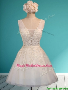 Gorgeous White Deep V Neckline Mother of Groom Dresses with Appliques and Belt
