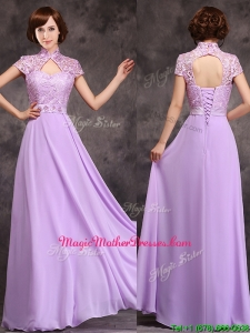 Low Price High Neck Cap Sleeves Lavender Long Mother Of The Bride Dresses
