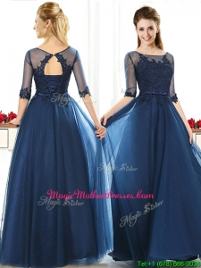 Luxurious See Through Scoop Half Sleeves Mother of Groom Dresses with Lace and Belt