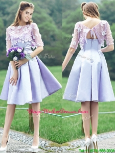 New Style Bateau Half Sleeves Lavender Mother of Groom Dresses with Appliques
