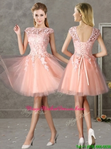 New Style Bateau Peach Short Mother of Groom Dresses with Lace