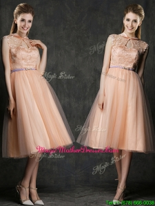 Popular High Neck Peach Mother Of The Bride Dresses with Sashes and Lace