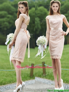 See Through Scoop Cap Sleeves Mother Of The Bride Dresses with Sashes