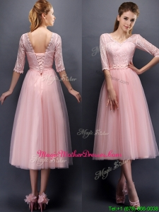 See Through V Neck Half Sleeves Mother of Groom Dresses with Lace and Belt