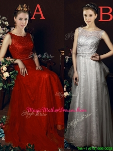 Exclusive See Through Belted Brush Train Mother of Groom Dresses in Tulle