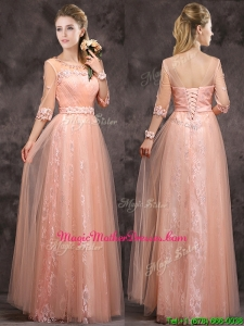 Exquisite See Through Applique and Laced Long Mother of Groom Dresses in Peach