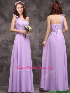 Pretty One Shoulder Lavender Mother of Groom Dresses with Applique Decorated Waist