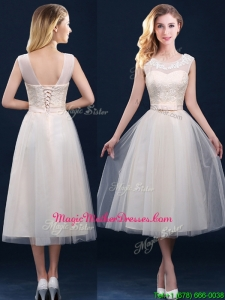 Best Selling See Through Champagne Mother Of The Bride Dresses with Appliques and Belt