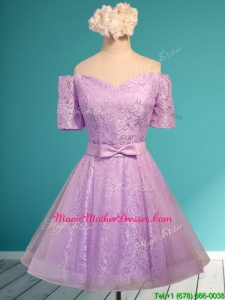 Fashionable Off the Shoulder Short Mother Of The Bride Dresses with Bowknot