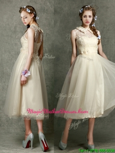 Pretty High Neck Champagne Mother Of The Bride Dresses with Lace and Hand Made Flowers