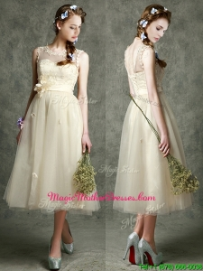 See Through Scoop Champagne Mother Of The Bride Dresses with Hand Made Flowers and Appliques