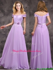 Unique Off The Shoulder Long Mother Of The Bride Dresses with Hand Made Flowers