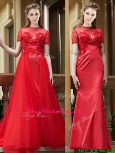 Beautiful See Through Short Sleeves Mother Of The Bride Dresses with Removable Train