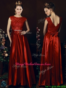 Cheap Scoop Laced and Bowknot Mother Of The Bride Dresses in Wine Red