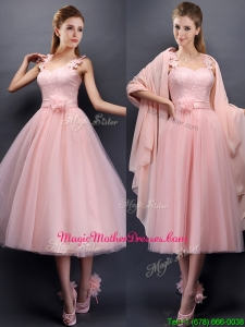 Classical Straps Baby Pink Mother Of The Bride Dresses with Appliques and Hand Made Flowers