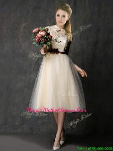 Luxurious High Neck Champagne Mother Of The Bride Dresses with Hand Made Flowers and Lace