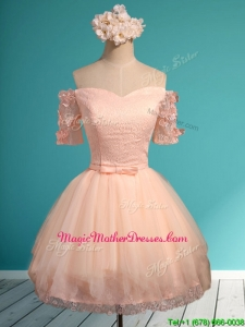 Luxurious Off the Shoulder Short Mother Of The Bride Dresses with Appliques and Belt
