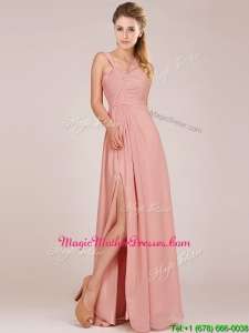 Modern Straps Peach Mother Of The Bride Dresses with Ruching and High Slit