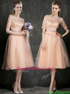 New Scoop Half Sleeves Mother Of The Bride Dresses with Sashes and Lace