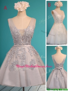 See Through Deep V Neckline Mother Of The Bride Dresses with Appliques and Belt