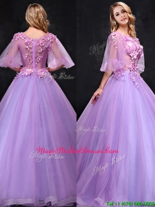 See Through Half Sleeves Bateau Mother Of The Bride Dresses with Hand Made Flowers